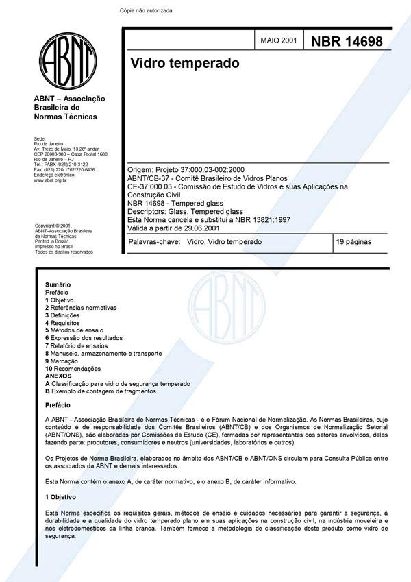 CERTIFICADO NORMA ABNT VIDRO TEMPERADO NBR14698-2001 TEMPERADO